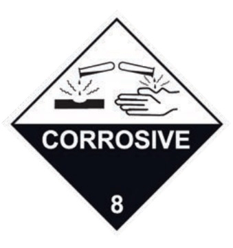 CORROSIVE 8 Label 100mm x 100mm 500 LABELS/ROLL-9.05