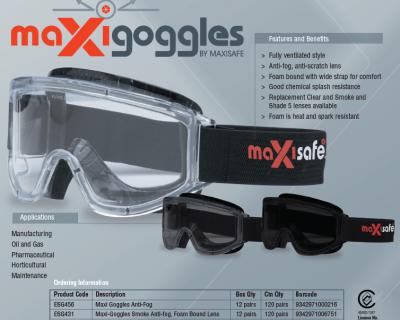 MAXI-Goggles Shade #5, Anti-Fog Full Tint, Foam Bound Lens 12/Box-ESG485