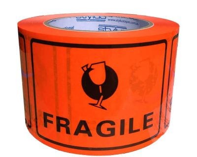 FRAGILE print TAPE LABEL PERFORATED 72MMX100MM 500 LABELS/ROLL-9.01