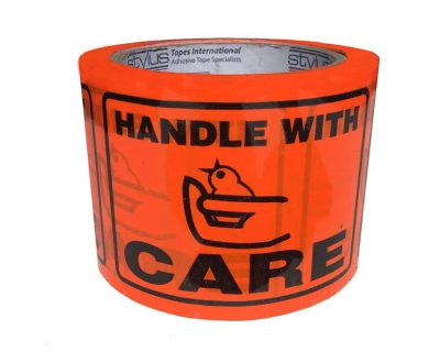 HANDLE WITH CARE print TAPE LABEL PERFORATED 72MMX100MM 500 LABELS/ROLL-9.07