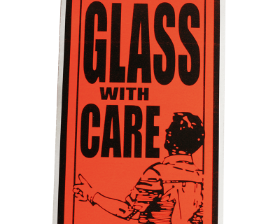 Fluoro Labels-GLASS WITH CARE 130mmx75mm 500/Box-L013
