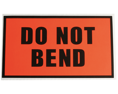 Fluoro Labels-DO NOT BEND 130Mmx75Mm 500/Box-L014