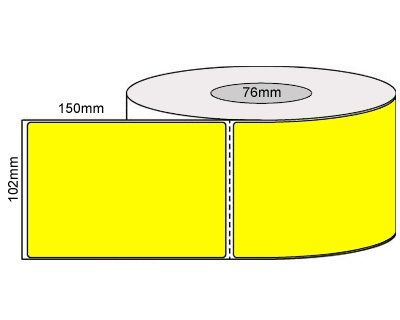 Thermal Transfer Labels – 102x150mm – Fluro Yellow/Perforated/Permanent Adhesive, 76mm Core 1000/Roll-L19924