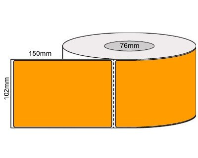 Thermal Transfer Labels – 102x150Mm – Fluro Orange/Perforated/Permanent Adhesive, 76mm Core 1000/Roll-L19925