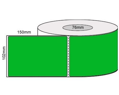 Thermal Transfer Labels – 102x150mm – Fluro Green/Perforated/Permanent Adhesive, 76mm Core 1000/Roll-L19926