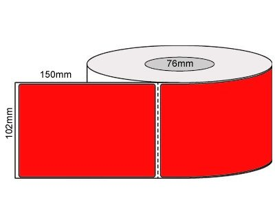 Thermal Transfer Labels-102x150Mm – Fluro Red/Perforated/Permanent Adhesive, 76mm Core 1000/Roll-L19927