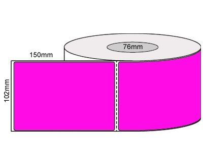 Thermal Transfer Labels-102x150mm-Fluro Pink/Perforated/Permanent Adhesive 76mm Core 1000/Roll-L19928