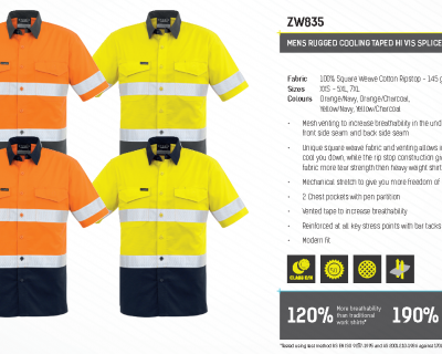 MENS RUGGED COOLING TAPED HI VIS SPLICED S/S SHIRT-ZW835