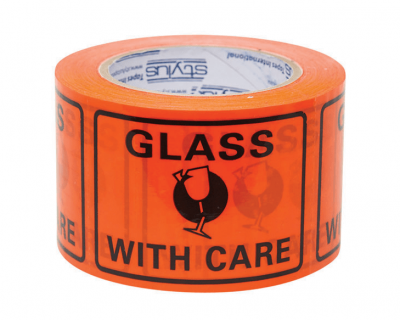 Glass With Care Print  Label Perforated 500 LABELS/ROLL 72x100mm-9.09