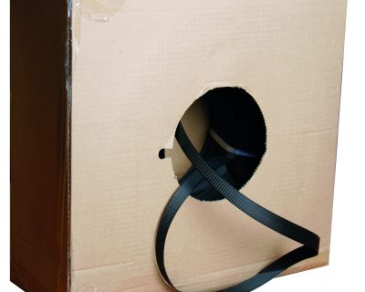 BLACK POLYPROPYLENE HAND STRAP IN DISPENSER BOX 19MM X 1000M 1 ROLL-11.09