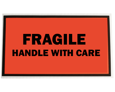 Fluoro Labels-FRAGILE HANDLE WITH CARE 150Mmx65Mm 500/Box-L001