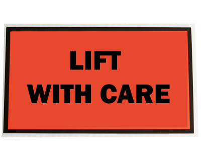 Fluoro Labels-LIFT WITH CARE 129Mmx96Mm 500/Box-L006