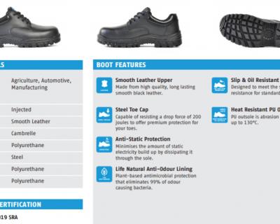Black Leather Lace Up Safety Shoe – Neptune 715-60511
