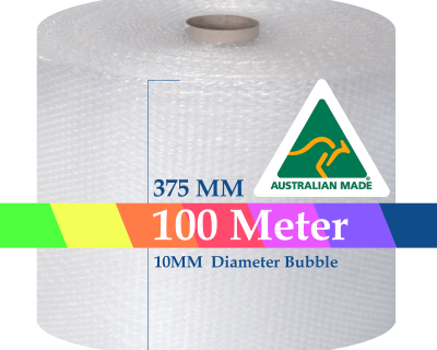 Bubble Cushioning Wrap Roll 375mm x 100M Air Bubble Clear 10mm Bubbles POSTAGE AUS WIDE