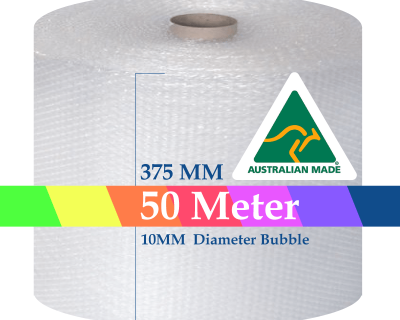 Bubble Cushioning Wrap Roll 375mm x 50M Air Bubble Clear 10mm Bubbles POSTAGE AUS WIDE