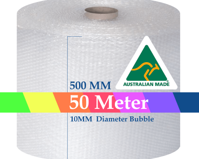 Bubble Cushioning Wrap Roll 500mm x 50M Air Bubble Clear 10mm Bubbles POSTAGE AUS WIDE