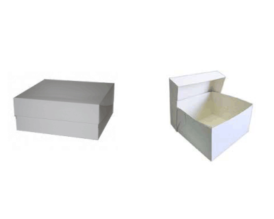 White PE Coated Cake Box (Two Piece – Base & Lid) WHITE 450 x 450 x 100mm 600 UM 25 Per Carton -WNCX18185