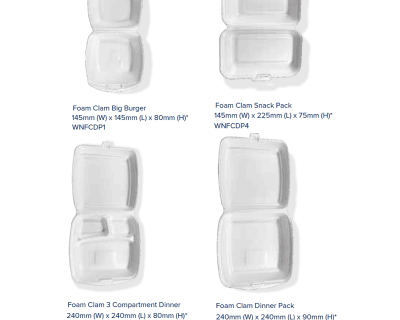 FOAM CLAM – Dinner Pack WHITE 240 x 240 x 90mm 200 Per Carton-WNFCDP17