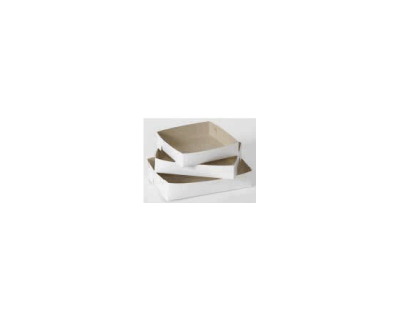 Cake / Food Tray No. 24 GREY / WHITE 175mm x 255mm x 55mm Duplex Board 200 Per Carton WNCT24G(200)