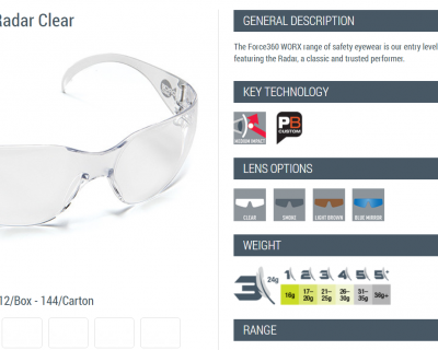 FORCE 360 RADAR SAFETY GLASSES CLEAR LENS 12 PAIRS/PACK