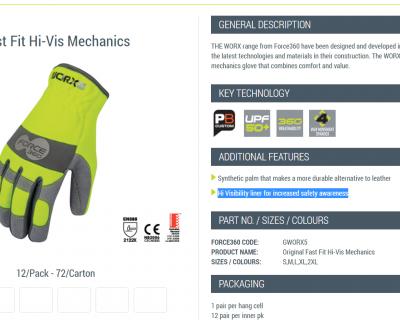 Fast Fit Hi-Vs Mechanics Glove S-2XL 12 Pairs-GWORX5